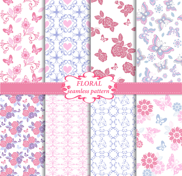 Set of floral seamless pattern in blue and pink colors vector