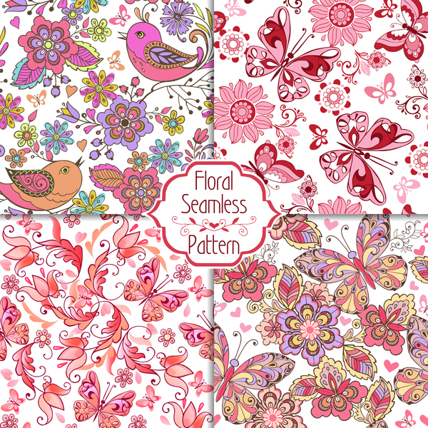 Set of floral seamless pink patterns with birds with butterflies and hearts vector