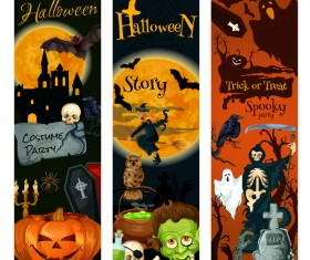 Set of halloween banner template vectors 04
