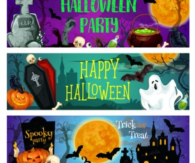 Set of halloween banner template vectors 05