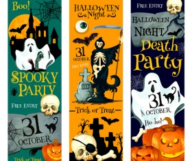 Set of halloween banner template vectors 06