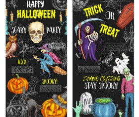 Set of halloween banner template vectors 07