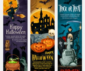 Set of halloween banner template vectors 08
