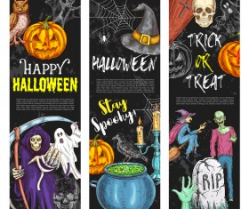 Set of halloween banner template vectors 09