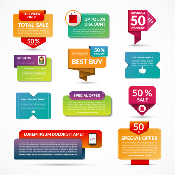 Shopping website banners vector set free download