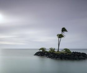 Small island on beach Stock Photo