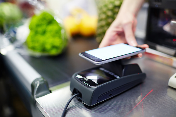 Smartphone NFC technology shopping Stock Photo 02