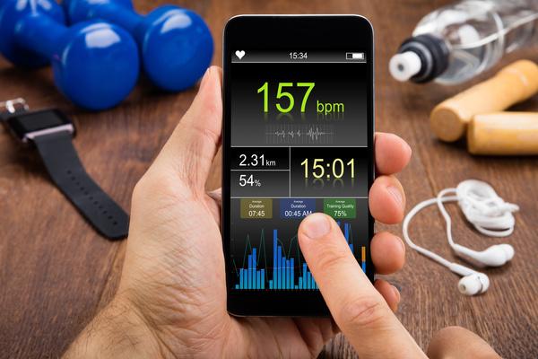 Smartphone checks physical condition Stock Photo