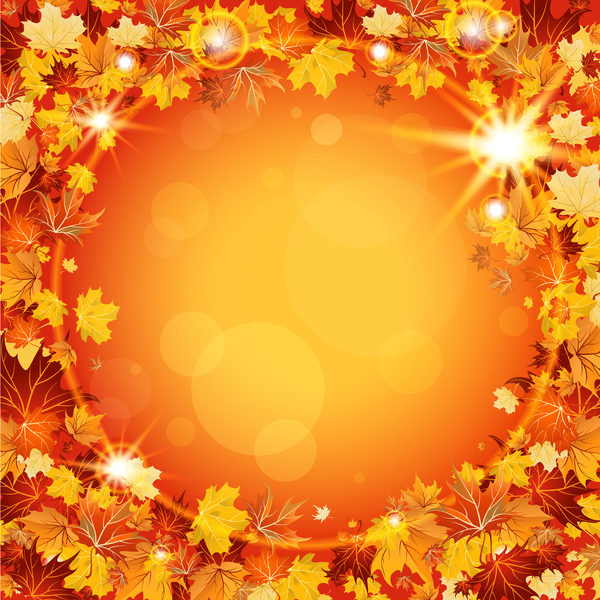 Sparkling autumn leaves frame vector material