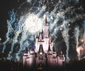 Sparkling fireworks above castle Stock Photo