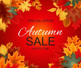 Special offer autumn sale template vector set 01