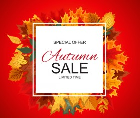 Special offer autumn sale template vector set 02