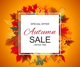 Special offer autumn sale template vector set 03