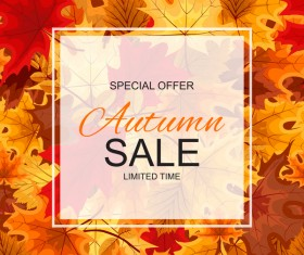 Special offer autumn sale template vector set 05