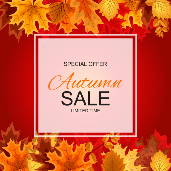 Special offer autumn sale template vector set 06
