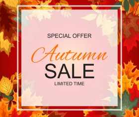Special offer autumn sale template vector set 07