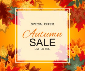 Special offer autumn sale template vector set 08