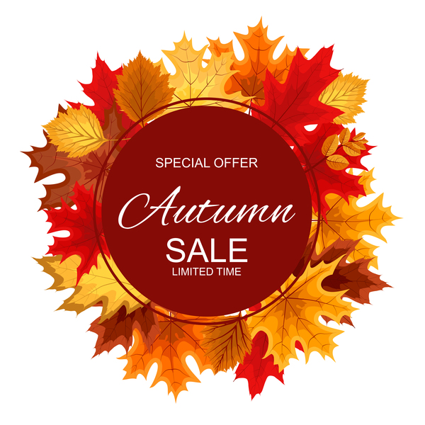 Special offer autumn sale template vector set 09