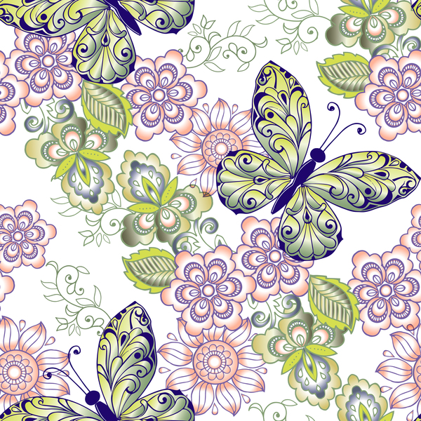 Spring seamless ornament butterflies and flowers vector
