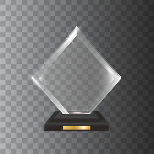 Square acrylic glass trophy award vector