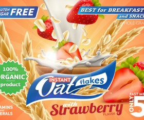 Strawberry with oat flakes and milk splash advertising flyer vector 01