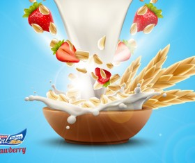 Strawberry with oat flakes and milk splash advertising flyer vector 02