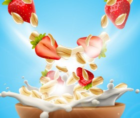 Strawberry with oat flakes and milk splash advertising flyer vector 03