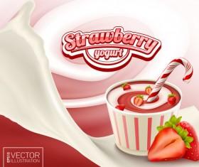 Strawberry yogurt poster template vector