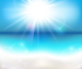 Sun shining over the ocean vector