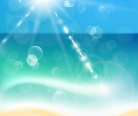 Sunlight with beach blurs background vector