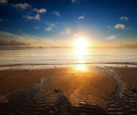 Sunset on the beach at the beach Stock Photo