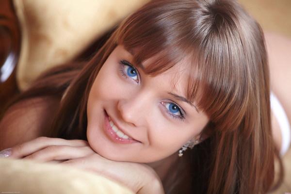 Sweet blue eyes girl Stock Photo