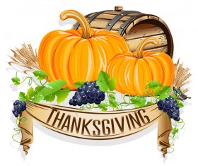 Thanksgiving day labels creative design vector 08