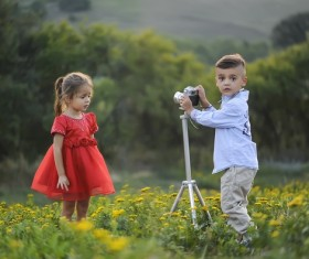 The little brother who photographed his sister Stock Photo