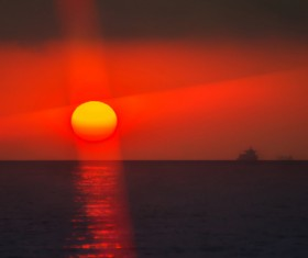The red sun on the sea Stock Photo