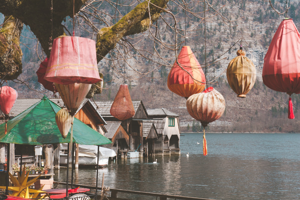 Traditional lanterns on calm river villages Stock Photo