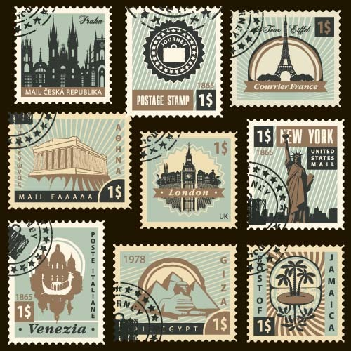 Travel postage stamps template vector