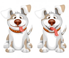 Two dog cartoon vector