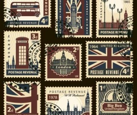 United Kingdom postage stamps template vector
