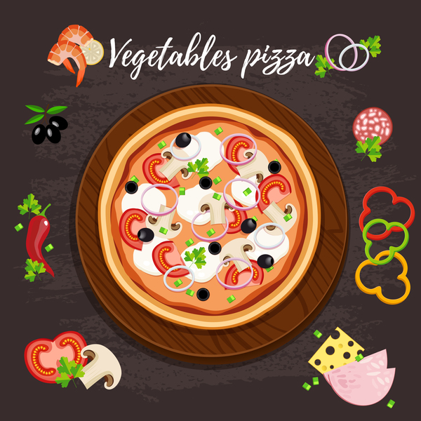 Vagetables pizza vector material