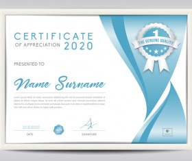 Vector certificate template with diploma design 04