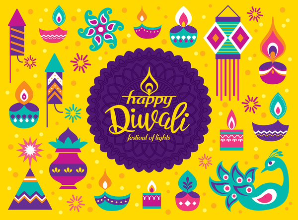 Vector diwali design illustration 01