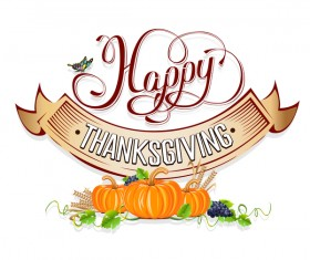 Vector thanksgiving day labels set 02