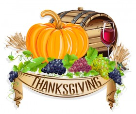 Vector thanksgiving day labels set 06