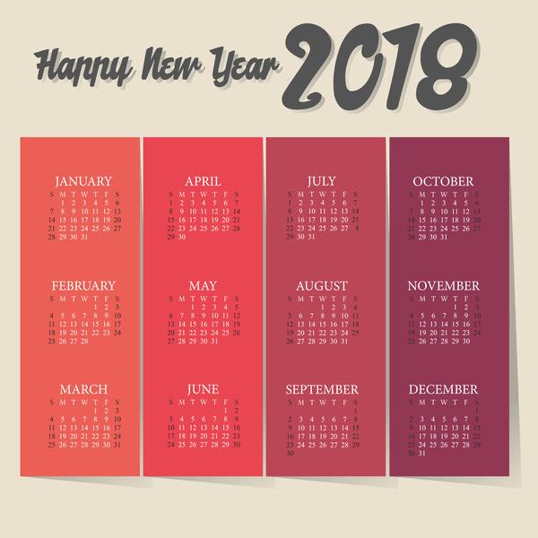 Vintage red calendar 2018 template vector