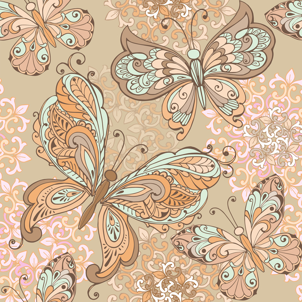 Vintage seamless pattern with decorative butterflies and pastel colors background vector