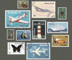 Vintage with retro postage stamps template vector