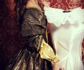 Wearing a retro dress woman Stock Photo 06