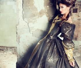 Wearing a retro dress woman Stock Photo 09