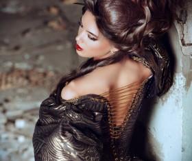 Wearing a retro dress woman Stock Photo 10